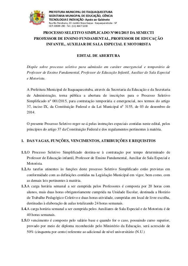 PREFEITURA MUNICIPAL DE ITAQUAQUECETUBA SECRETARIA MUNICIPAL DE EDUCAÇÃO, CIÊNCIA TECNOLOGIA E INOVAÇÃO- Apoio ao Gabinete...