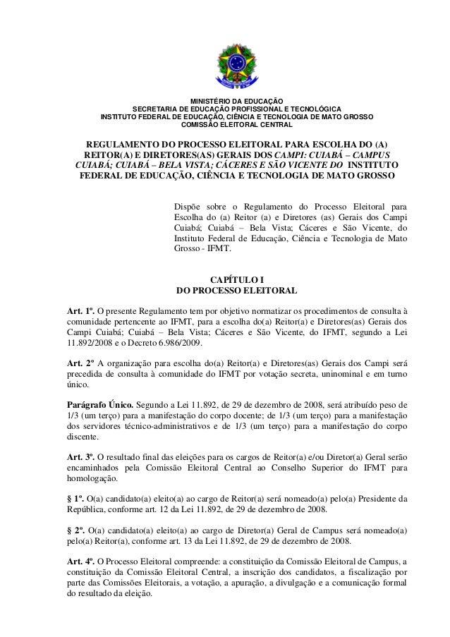 MINISTÉRIO DA EDUCAÇÃO                 SECRETARIA DE EDUCAÇÃO PROFISSIONAL E TECNOLÓGICA         INSTITUTO FEDERAL DE EDUC...