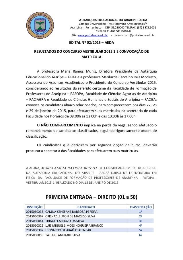AUTARQUIA EDUCACIONAL DO ARARIPE – AEDA Campus Universitário – Av. Florentino Alves Batista s/n Araripina - Pernambuco CEP...