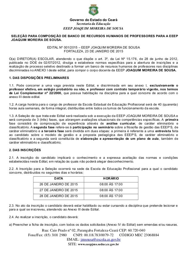 Governo do Estado do Ceará SecretariadaEducação EEEPJOAQUIMMOREIRADESOUSA SELEÇÃO PARA COMPOSIÇÃO DE BANCO DE RECURS...