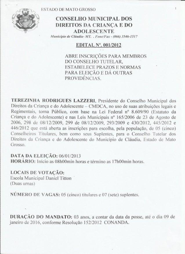 Edital 001 2012 Eleição para Conselheiros