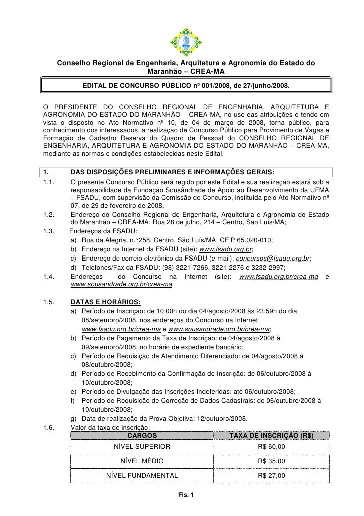 Conselho Regional de Engenharia, Arquitetura e Agronomia do Estado do                               Maranhão – CREA-MA    ...