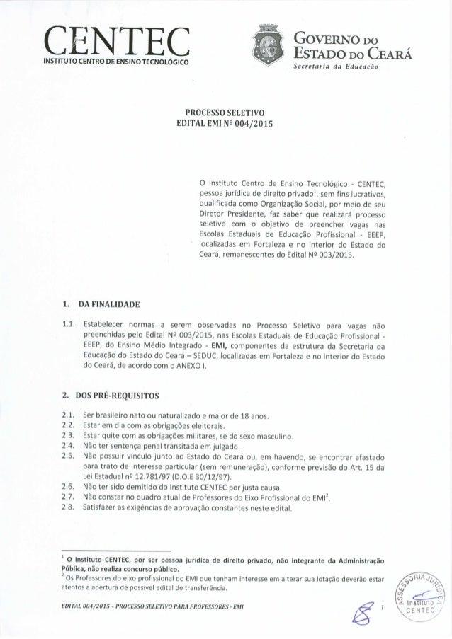 (  N 'E( :   ;  GOVERNO Do ' ESTADO Do CEARA INSTITUTO CENTRO DE ENSINOTECNOLOGICO ~. /  Secremria dd Edumwo  1.  1.1.    ...