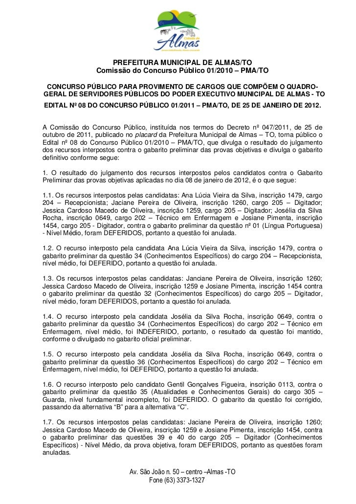 PREFEITURA MUNICIPAL DE ALMAS/TO                  Comissão do Concurso Público 01/2010 – PMA/TO CONCURSO PÚBLICO PARA PROV...