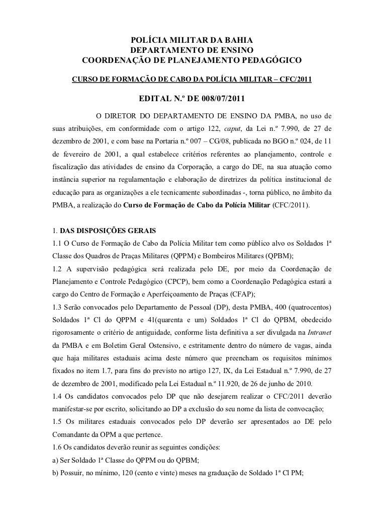POLÍCIA MILITAR DA BAHIA                 DEPARTAMENTO DE ENSINO         COORDENAÇÃO DE PLANEJAMENTO PEDAGÓGICO      CURSO ...