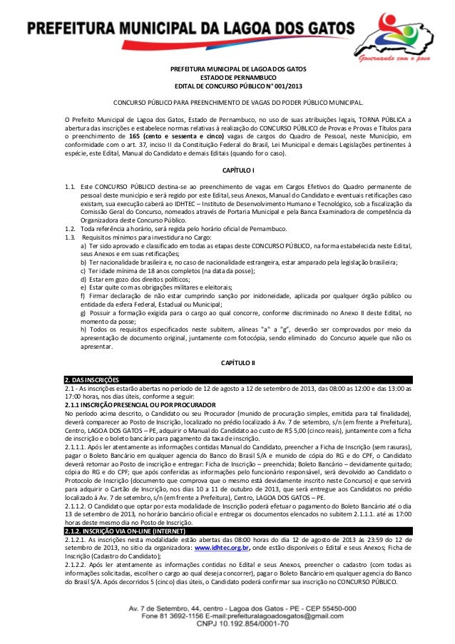 PREFEITURA MUNICIPAL DE LAGOA DOS GATOS ESTADO DE PERNAMBUCO EDITAL DE CONCURSO PÚBLICO N° 001/2013 CONCURSO PÚBLICO PARA ...