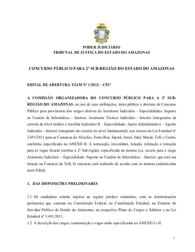 PODER JUDICIÁRIO                 TRIBUNAL DE JUSTIÇA DO ESTADO DO AMAZONAS CONCURSO PÚBLICO PARA 2ª SUB-REGIÃO DO ESTADO D...