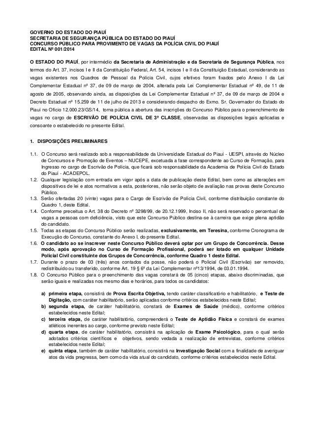 GOVERNO DO ESTADO DO PIAUÍ SECRETARIA DE SEGURANÇA PÚBLICA DO ESTADO DO PIAUÍ CONCURSO PÚBLICO PARA PROVIMENTO DE VAGAS DA...