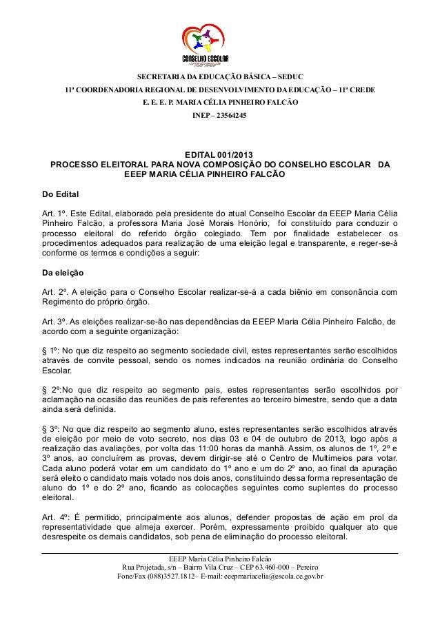 SECRETARIA DA EDUCAÇÃO BÁSICA – SEDUC 11ª COORDENADORIA REGIONAL DE DESENVOLVIMENTO DA EDUCAÇÃO – 11ª CREDE E. E. E. P. MA...