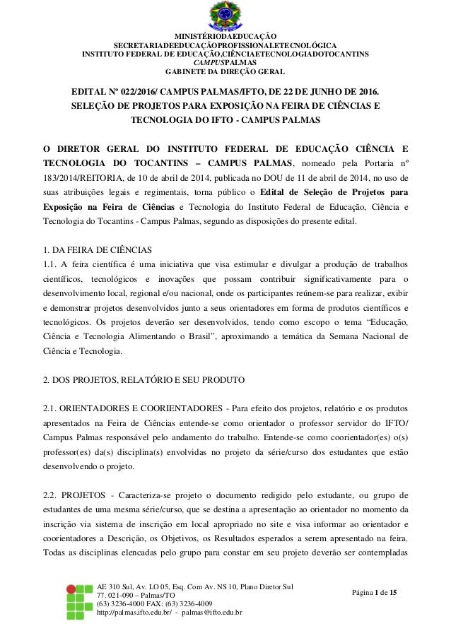 Página 1 de 15 MINISTÉRIODAEDUCAÇÃO SECRETARIADEEDUCAÇÃOPROFISSIONALETECNOLÓGICA INSTITUTO FEDERAL DE EDUCAÇÃO,CIÊNCIAETEC...