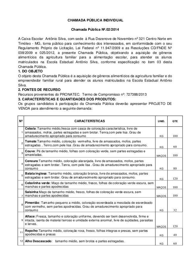 CHAMADA PÚBLICA INDIVIDUAL Chamada Pública Nº.02/2014 A Caixa Escolar Antônio Silva, com sede à Rua Dezenove de Novembro n...