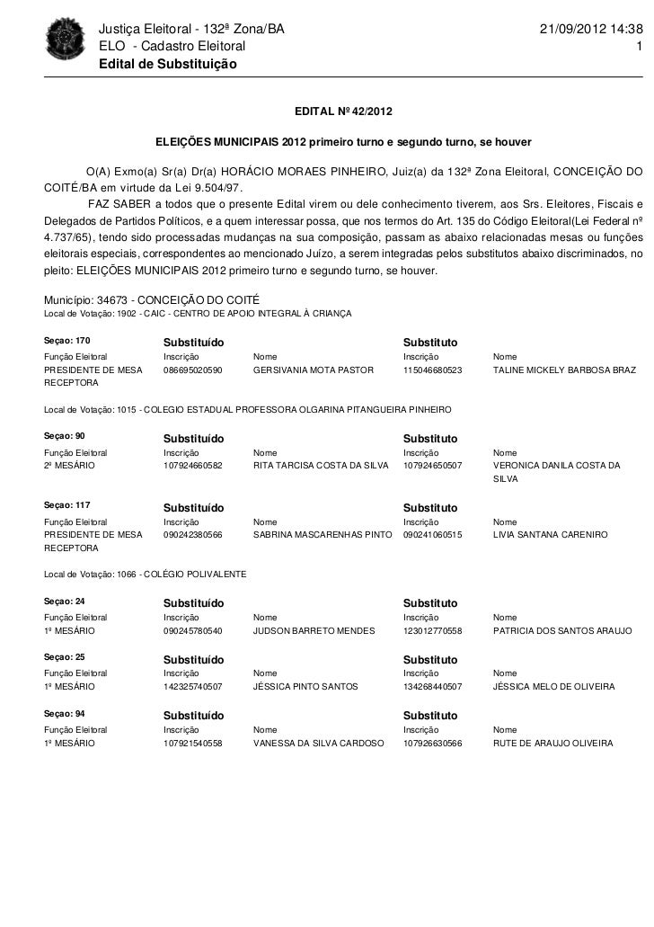 Justiça Eleitoral - 132ª Zona/BA                                                        21/09/2012 14:38             ELO -...