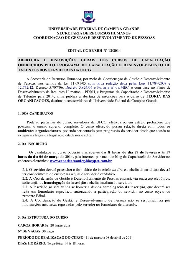UNIVERSIDADE FEDERAL DE CAMPINA GRANDE SECRETARIA DE RECURSOS HUMANOS COORDENAÇÃO DE GESTÃO E DESENVOLVIMENTO DE PESSOAS  ...