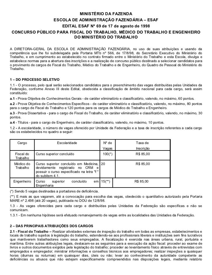 MINISTÉRIO DA FAZENDA                ESCOLA DE ADMINISTRAÇÃO FAZENDÁRIA – ESAF                    EDITAL ESAF Nº 69 de 17 ...