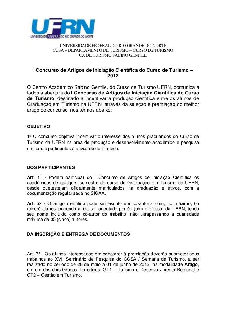 UNIVERSIDADE FEDERAL DO RIO GRANDE DO NORTE            CCSA – DEPARTAMENTO DE TURISMO – CURSO DE TURISMO                  ...