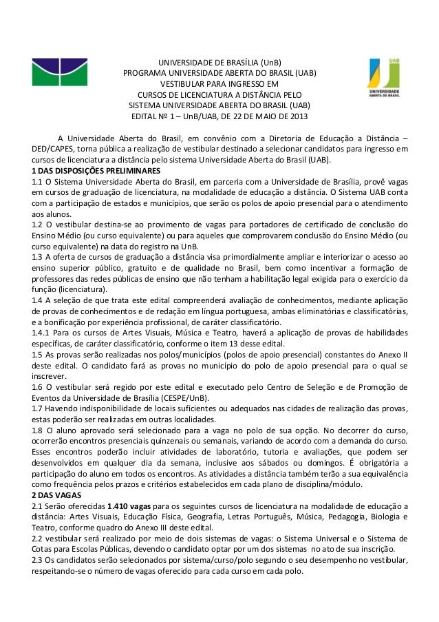 UNIVERSIDADE DE BRASÍLIA (UnB)PROGRAMA UNIVERSIDADE ABERTA DO BRASIL (UAB)VESTIBULAR PARA INGRESSO EMCURSOS DE LICENCIATUR...