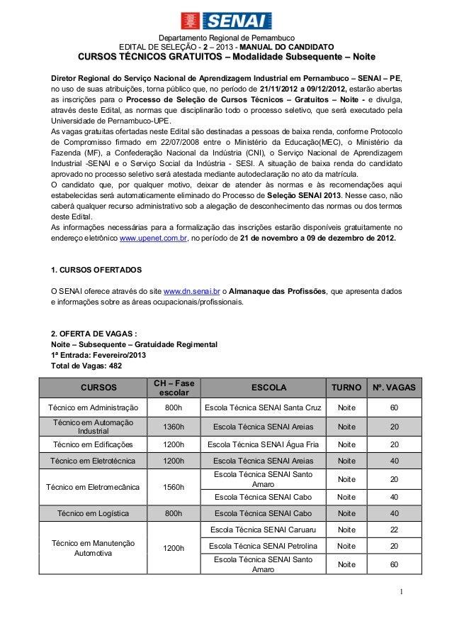 Departamento Regional de Pernambuco                    EDITAL DE SELEÇÃO - 2 – 2013 - M ANUAL DO CANDIDATO        CURSOS T...