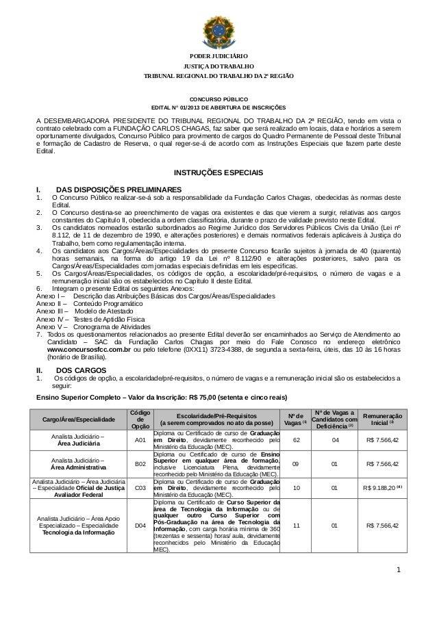 PODER JUDICIÁRIO JUSTIÇA DO TRABALHO TRIBUNAL REGIONAL DO TRABALHO DA 2ª REGIÃO  CONCURSO PÚBLICO EDITAL N° 01/2013 DE ABE...