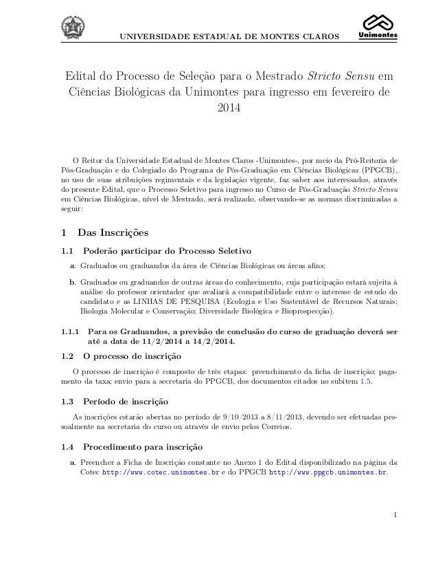 UNIVERSIDADE ESTADUAL DE MONTES CLAROS  Edital do Processo de Seleção para o Mestrado Stricto Sensu em Ciências Biológicas...