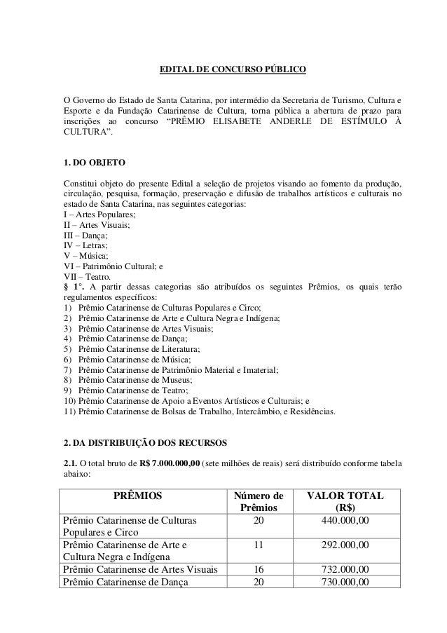 EDITAL DE CONCURSO PÚBLICO  O Governo do Estado de Santa Catarina, por intermédio da Secretaria de Turismo, Cultura e  Esp...