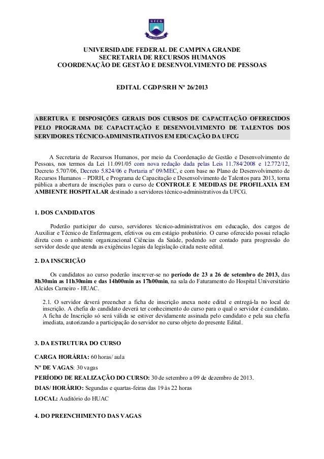 UNIVERSIDADE FEDERAL DE CAMPINA GRANDE SECRETARIA DE RECURSOS HUMANOS COORDENAÇÃO DE GESTÃO E DESENVOLVIMENTO DE PESSOAS E...