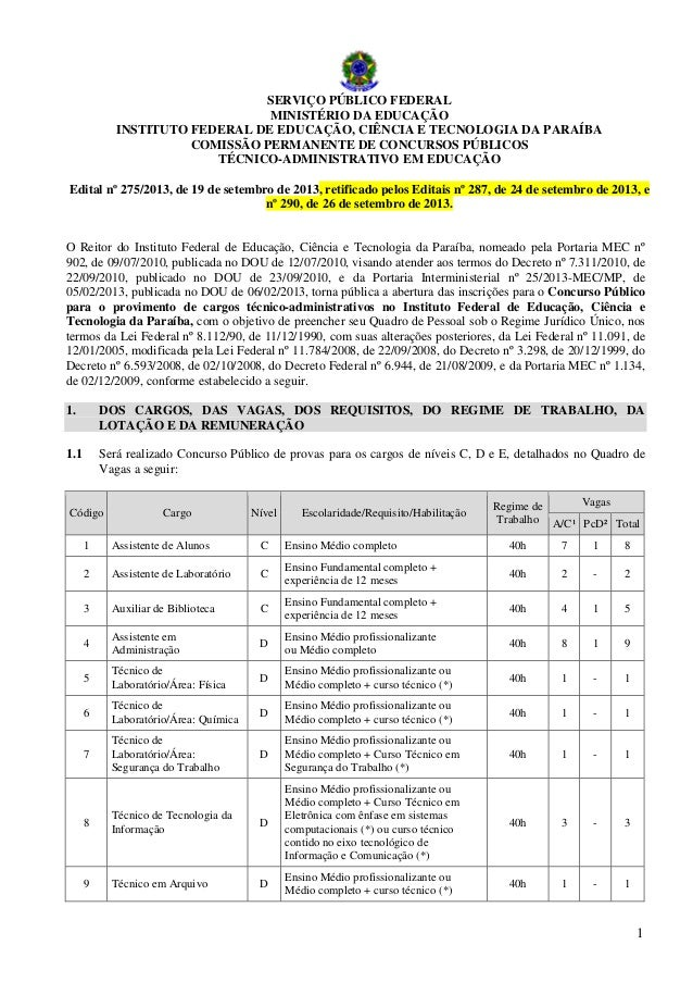 SERVIÇO PÚBLICO FEDERAL MINISTÉRIO DA EDUCAÇÃO INSTITUTO FEDERAL DE EDUCAÇÃO, CIÊNCIA E TECNOLOGIA DA PARAÍBA COMISSÃO PER...