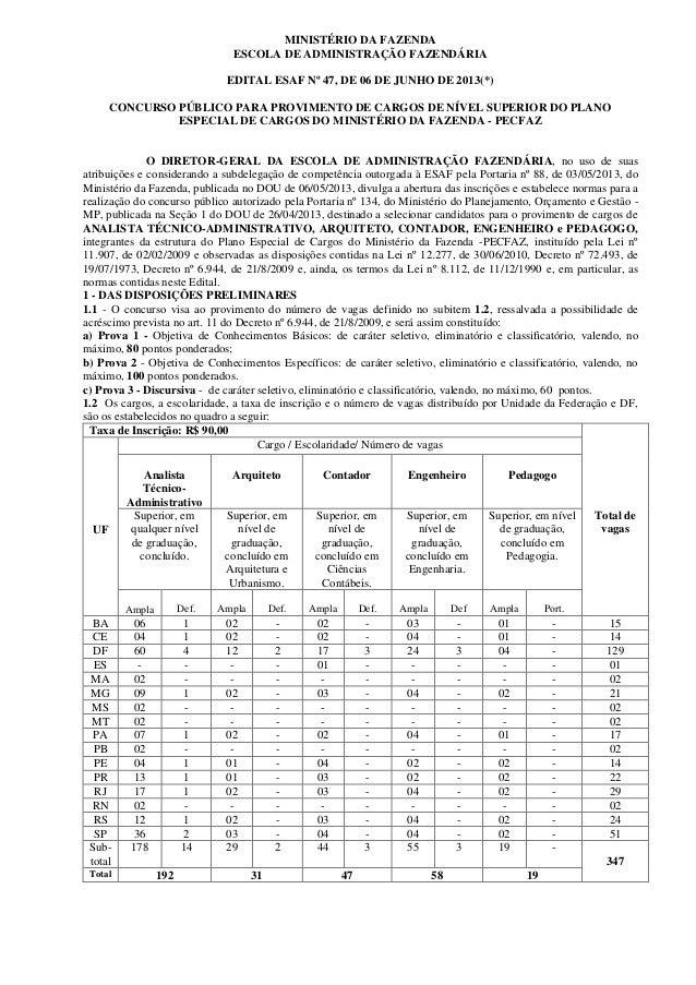 MINISTÉRIO DA FAZENDAESCOLA DE ADMINISTRAÇÃO FAZENDÁRIAEDITAL ESAF Nº 47, DE 06 DE JUNHO DE 2013(*)CONCURSO PÚBLICO PARA P...