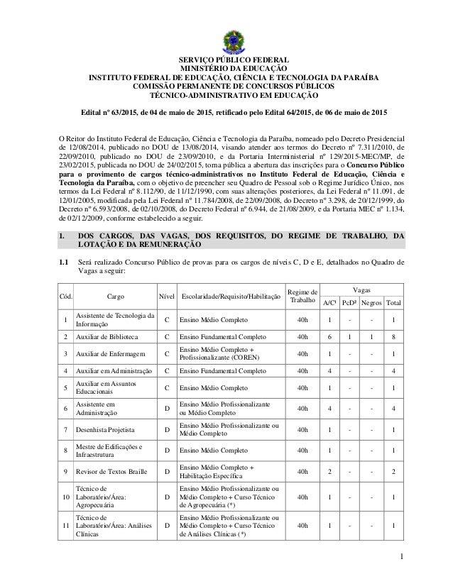 1 SERVIÇO PÚBLICO FEDERAL MINISTÉRIO DA EDUCAÇÃO INSTITUTO FEDERAL DE EDUCAÇÃO, CIÊNCIA E TECNOLOGIA DA PARAÍBA COMISSÃO P...
