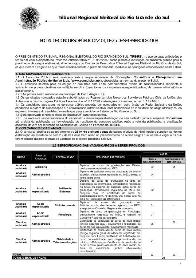 Tribunal Regional Eleitoral do Rio Grande do Sul 1 EDITAL DE CONCURSO PÚBLICO Nº. 01, DE 25 DE SETEMBRO DE 2008 O PRESIDEN...