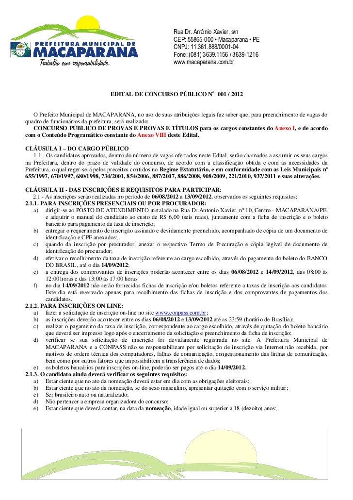 Rua Dr. Antônio Xavier, s/n                                                             CEP: 55865-000 • Macaparana • PE  ...