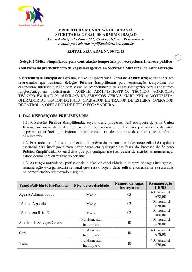 PREFEITURA MUNICIPAL DE BETÂNIA SECRETARIA GERAL DE ADMINISTRAÇÃO ... e840f31389b6d