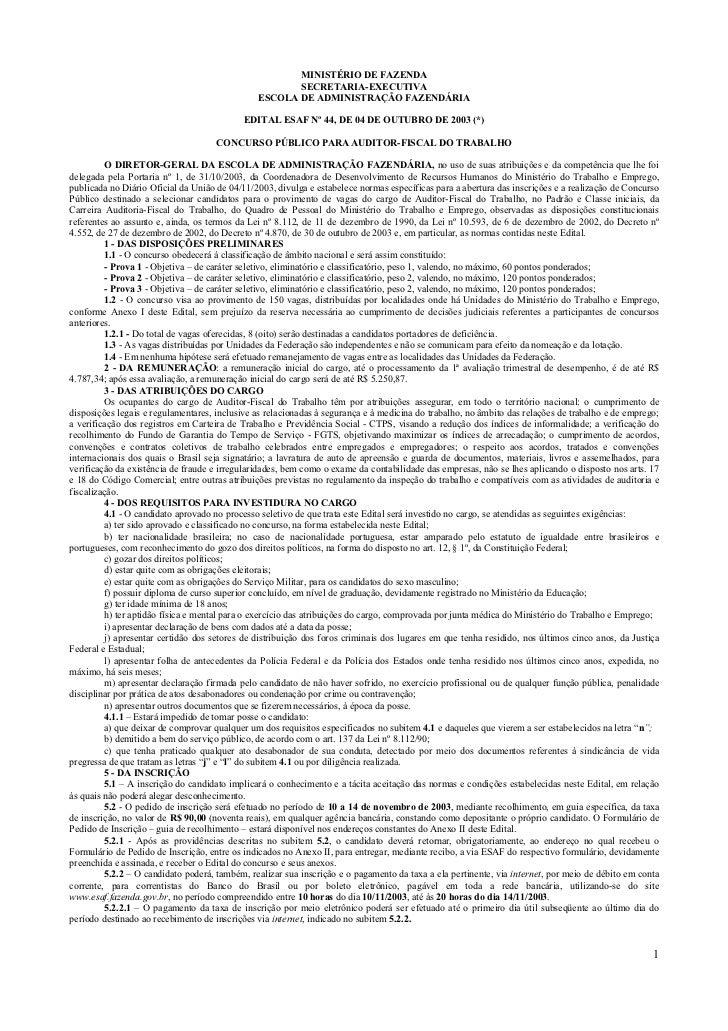 MINISTÉRIO DE FAZENDA                                                      SECRETARIA-EXECUTIVA                           ...