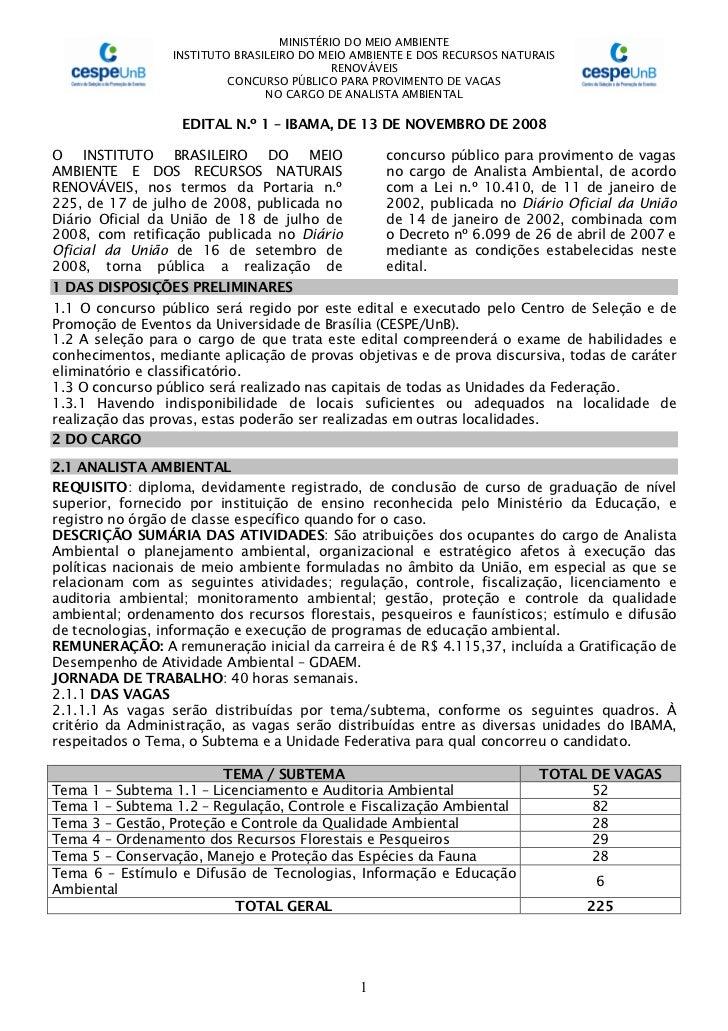 MINISTÉRIO DO MEIO AMBIENTE                  INSTITUTO BRASILEIRO DO MEIO AMBIENTE E DOS RECURSOS NATURAIS                ...