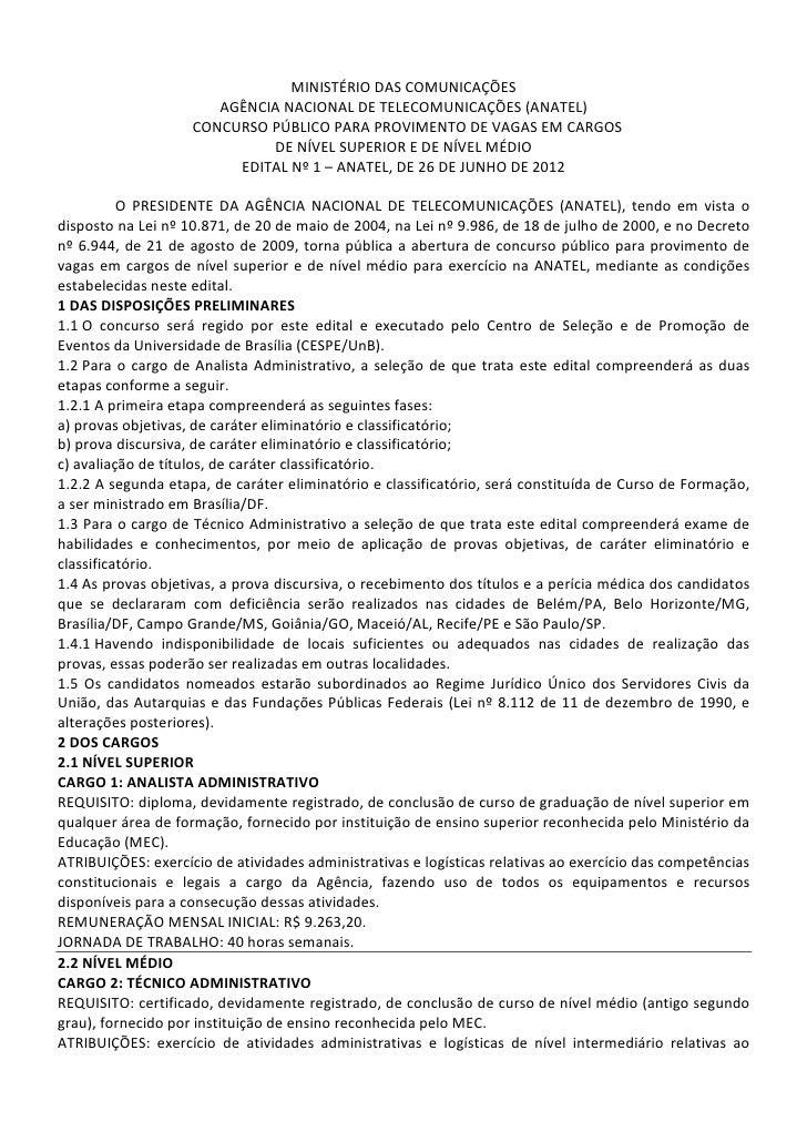 MINISTÉRIO DAS COMUNICAÇÕES                       AGÊNCIA NACIONAL DE TELECOMUNICAÇÕES (ANATEL)                    CONCURS...