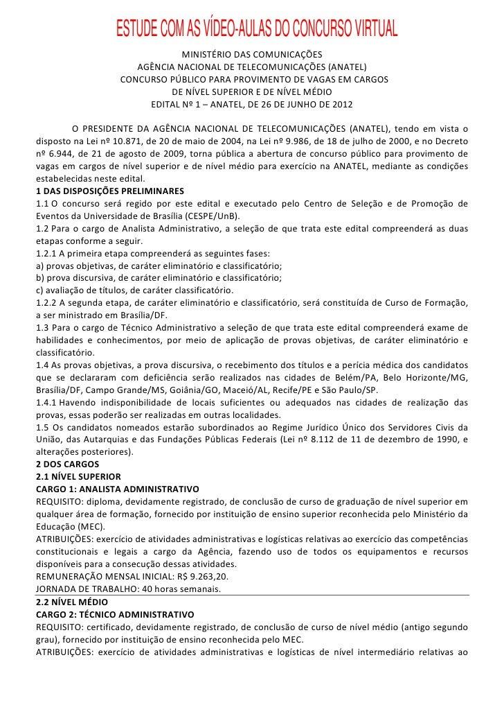ESTUDE COM AS VÍDEO-AULAS DO CONCURSO VIRTUAL                                MINISTÉRIO DAS COMUNICAÇÕES                  ...