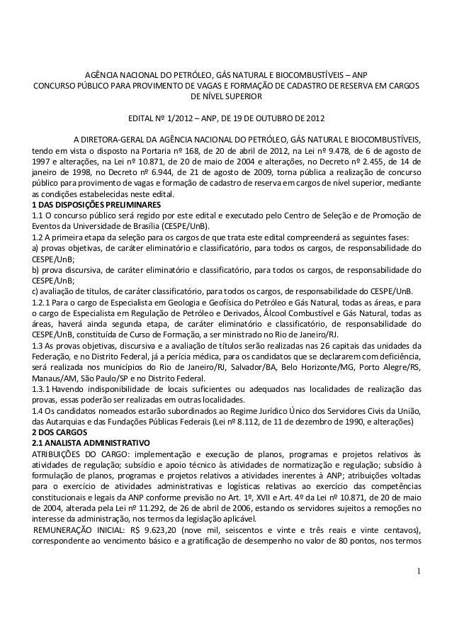 AGÊNCIA NACIONAL DO PETRÓLEO, GÁS NATURAL E BIOCOMBUSTÍVEIS – ANPCONCURSO PÚBLICO PARA PROVIMENTO DE VAGAS E FORMAÇÃO DE C...