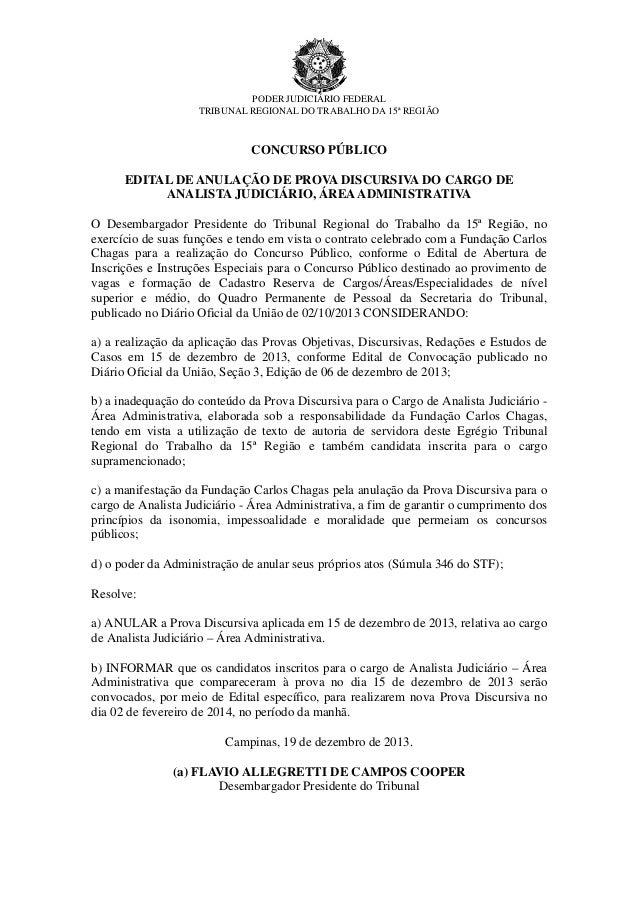 PODER JUDICIÁRIO FEDERAL TRIBUNAL REGIONAL DO TRABALHO DA 15ª REGIÃO  CONCURSO PÚBLICO EDITAL DE ANULAÇÃO DE PROVA DISCURS...