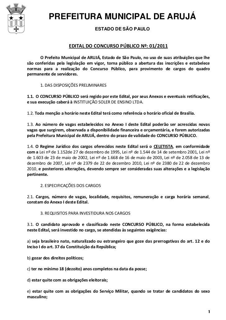 PREFEITURA MUNICIPAL DE ARUJÁ                                     ESTADO DE SÃO PAULO                       EDITAL DO CONC...