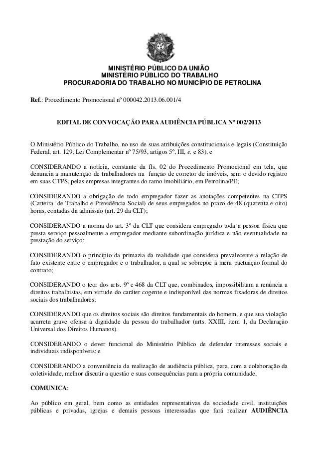 MINISTÉRIO PÚBLICO DA UNIÃO                    MINISTÉRIO PÚBLICO DO TRABALHO            PROCURADORIA DO TRABALHO NO MUNIC...