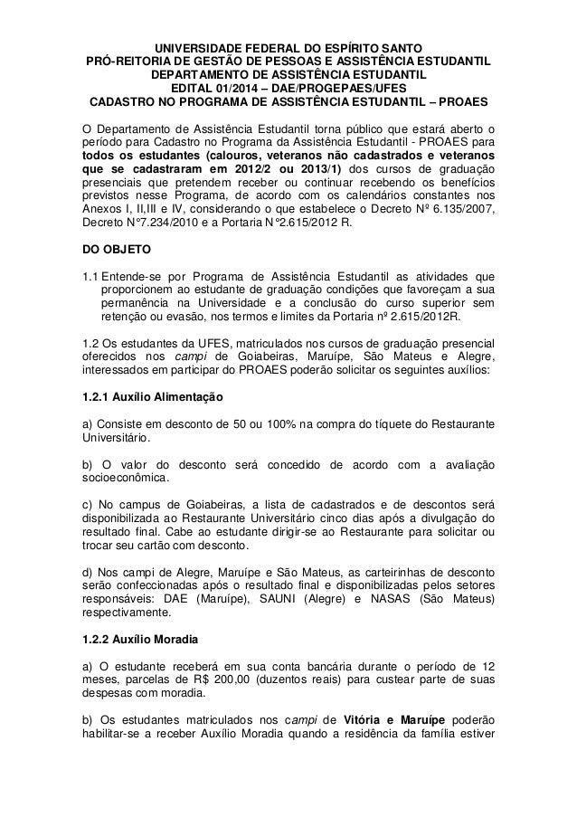 UNIVERSIDADE FEDERAL DO ESPÍRITO SANTO PRÓ-REITORIA DE GESTÃO DE PESSOAS E ASSISTÊNCIA ESTUDANTIL DEPARTAMENTO DE ASSISTÊN...