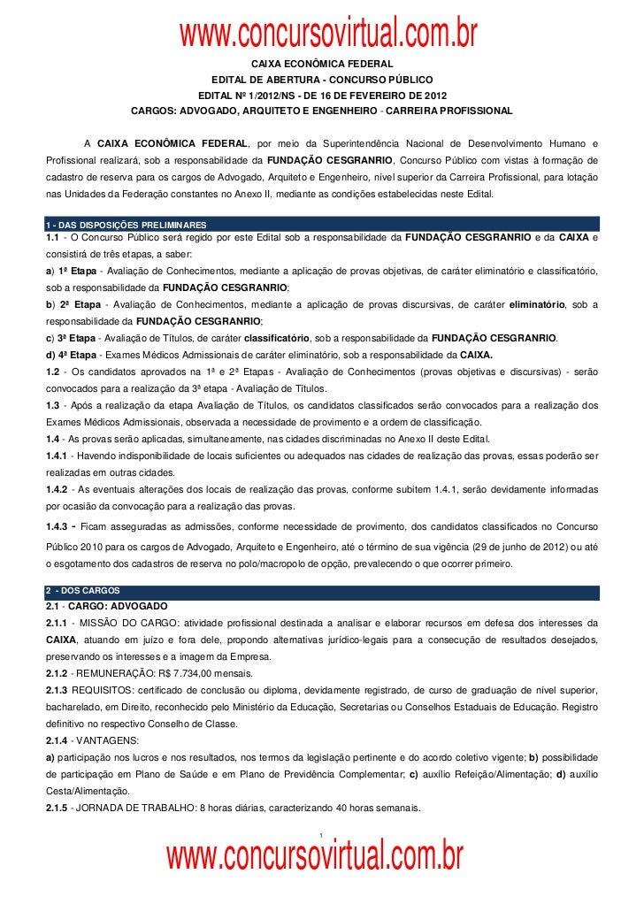 www.concursovirtual.com.br                                                CAIXA ECONÔMICA FEDERAL                         ...