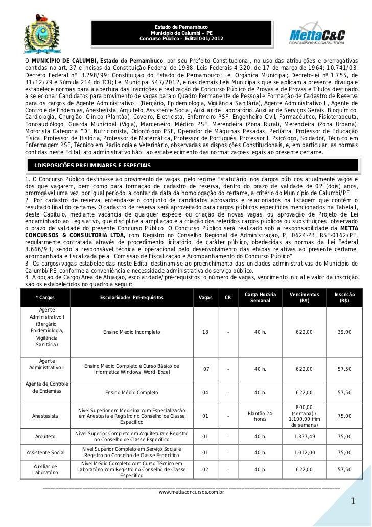 Estado de Pernambuco                                                    Município de Calumbi – PE                         ...