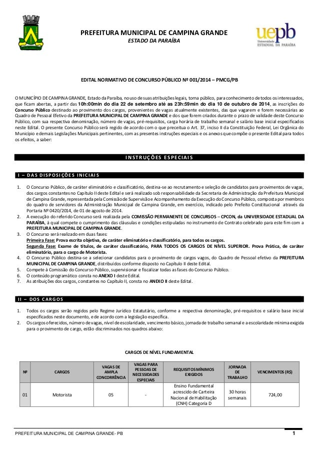 PREFEITURA MUNICIPAL DE CAMPINA GRANDE- PB 1  PREFEITURA MUNICIPAL DE CAMPINA GRANDE  ESTADO DA PARAÍBA  EDITAL NORMATIVO ...
