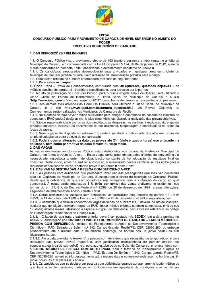 EDITAL  CONCURSO PÚBLICO PARA PROVIMENTO DE CARGOS DE NÍVEL SUPERIOR NO ÂMBITO DO                                   PODER ...