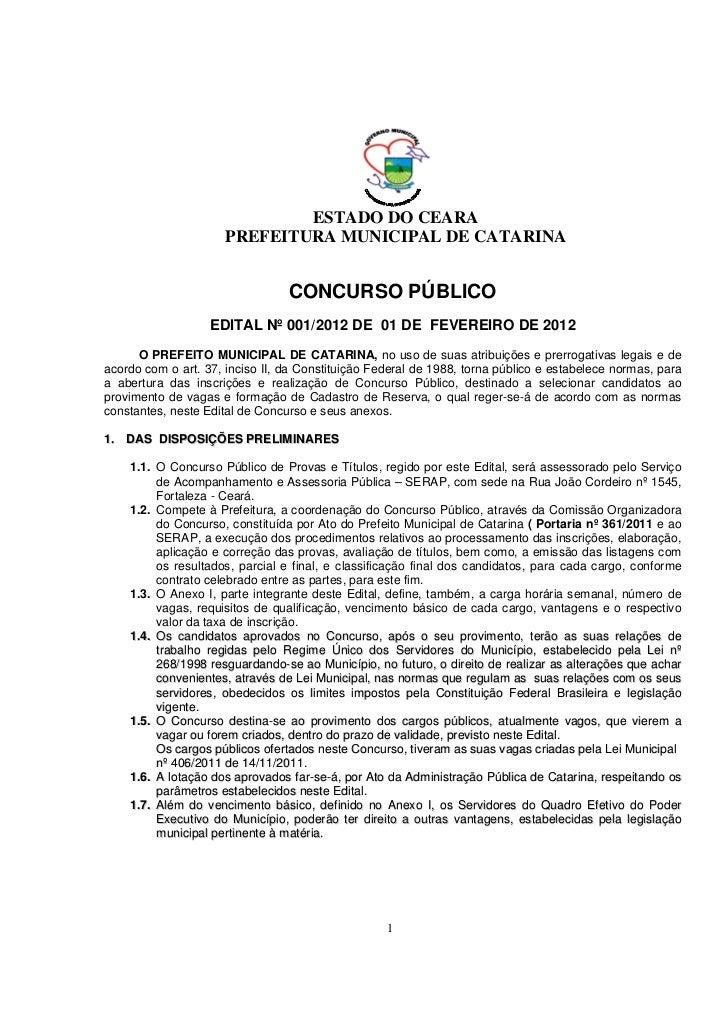 ESTADO DO CEARA                      PREFEITURA MUNICIPAL DE CATARINA                                 CONCURSO PÚBLICO    ...