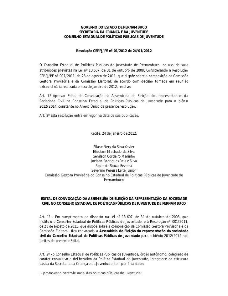 GOVERNO DO ESTADO DE PERNAMBUCO                       SECRETARIA DA CRIANÇA E DA JUVENTUDE                CONSELHO ESTADUA...