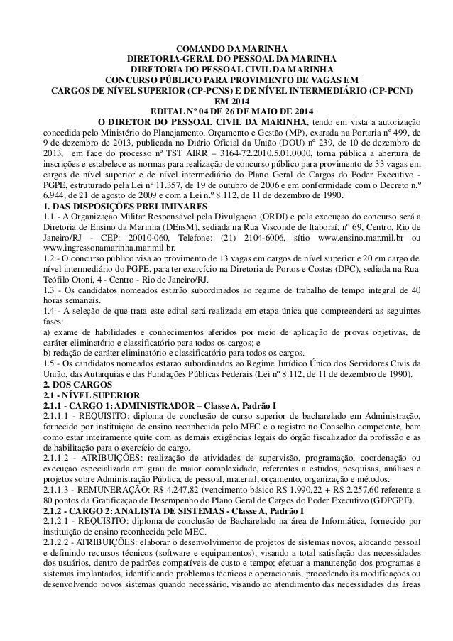 COMANDO DA MARINHA DIRETORIA-GERAL DO PESSOAL DA MARINHA DIRETORIA DO PESSOAL CIVIL DA MARINHA CONCURSO PÚBLICO PARA PROVI...