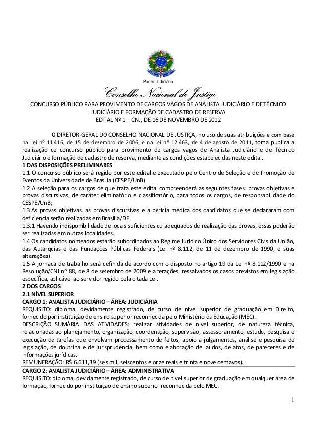 Poder Judiciário                               Conselho Nacional de Justiça   CONCURSO PÚBLICO PARA PROVIMENTO DE CARGOS V...