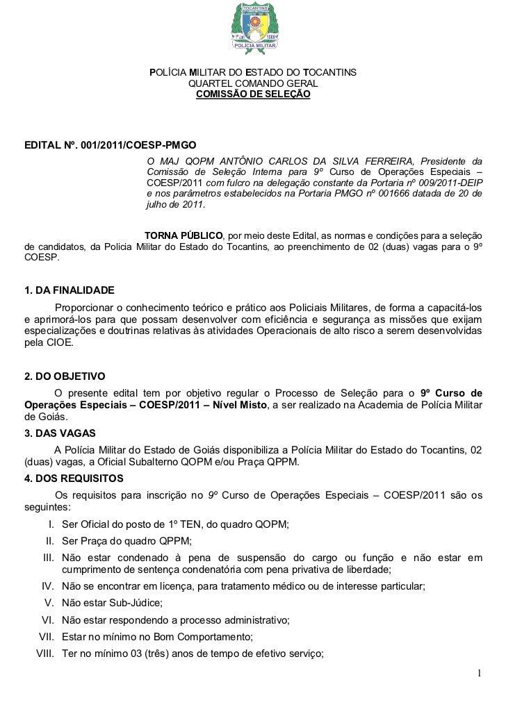 POLÍCIA MILITAR DO ESTADO DO TOCANTINS                                    QUARTEL COMANDO GERAL                           ...