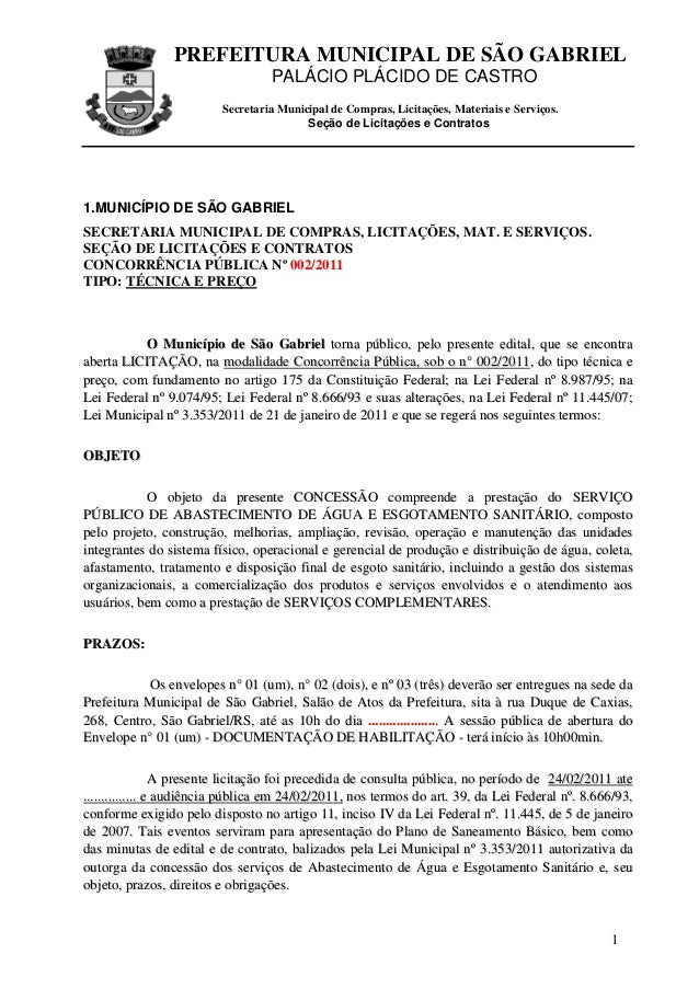 PREFEITURA MUNICIPAL DE SÃO GABRIEL PALÁCIO PLÁCIDO DE CASTRO Secretaria Municipal de Compras, Licitações, Materiais e Ser...